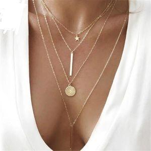 BOHO Multilayer Gold Toned Long Line Necklace